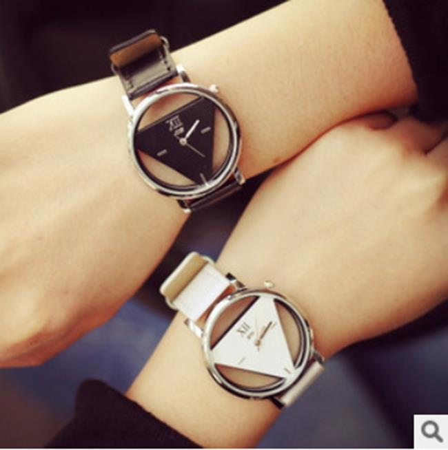 50%OFF【H06815WAH】精時簡約原宿三角形手錶個性時尚雙面鏤空韓國潮流學生情侶錶