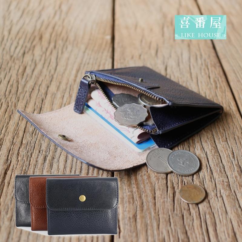 【喜番屋】日韓版真皮頭層牛皮迷你復古拉鍊皮夾皮包錢夾零錢包流行男包女包男夾女夾卡片夾卡片包證件夾證件包禮物LH295