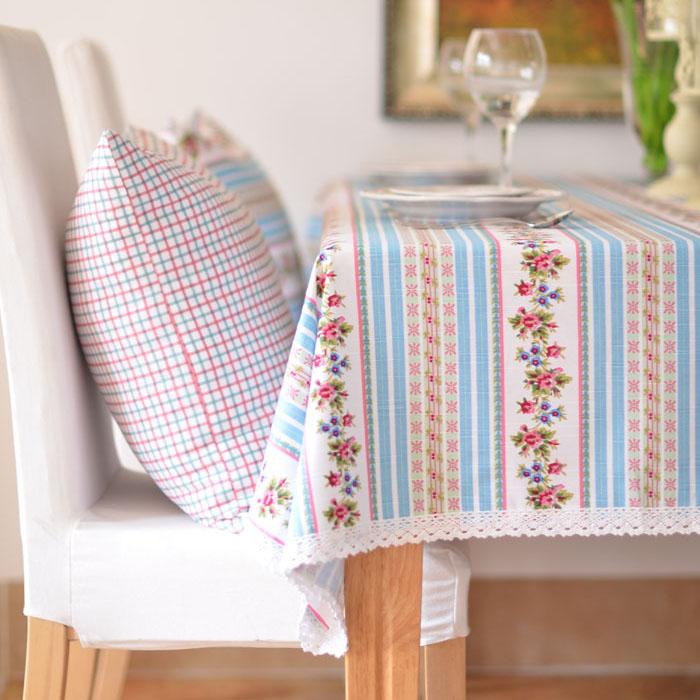 居家鄉村風 格子碎花竹節棉藍色花邊布藝桌布 餐桌布/ 單售