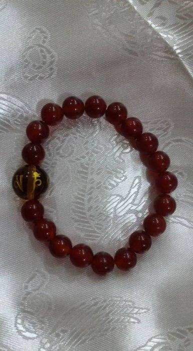 紅瑪瑙玉石 六字大明咒琉璃珠 手珠 ( 熱情 行動力)觀音加被