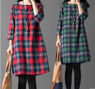 滿700再折$100第二代升級版 [舊時光]森女棉麻寬鬆格子長袖洋裝[2色,M~3XL] - 御聖願