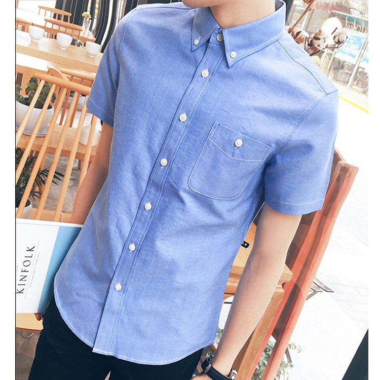 Mao  最新款日韓新品經典純色牛津款休閒商務短袖襯衫