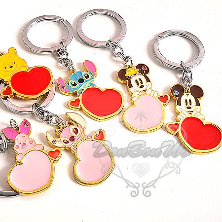 迪士尼米奇米妮維尼小豬史迪奇情人鐵牌鑰匙圈2入組021904海渡