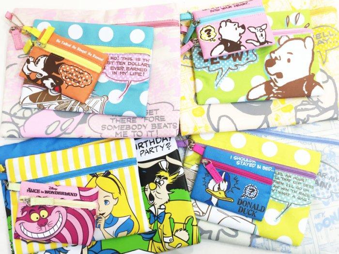 迪士尼 米奇 唐老鴨 小熊維尼 愛麗絲 資料袋 化妝包 零錢包 收納包 置物袋 文具 配件 正版日本進口 JustGirl