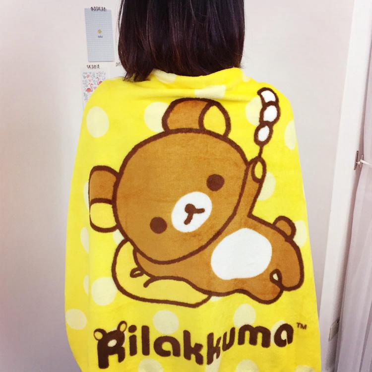 PGS7 (現貨+預購) 日本卡通系列商品 - 拉拉熊 造型 法蘭絨 絨毛 毛毯 被毯 毯子 涼被 懶懶熊