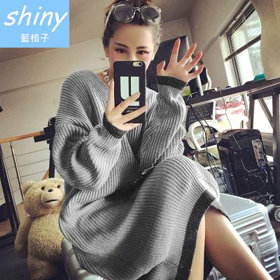 【V0272】shiny藍格子-基色展現.簡約時尚大圓領長袖毛衣針織連身裙
