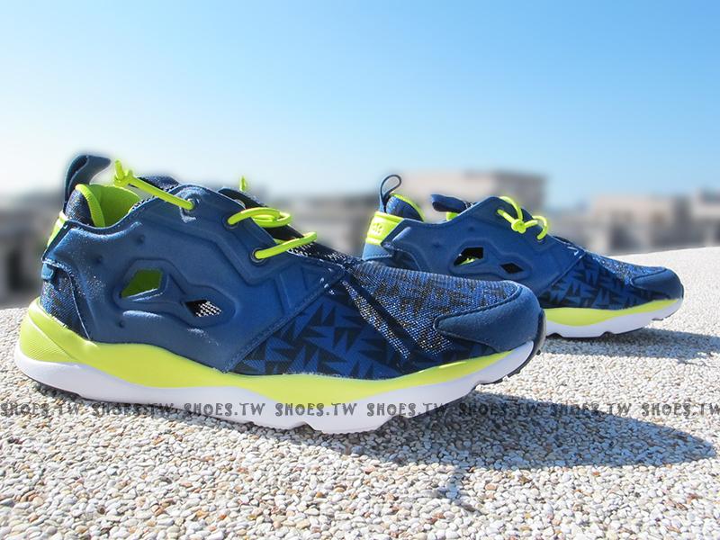 Shoestw【V63441】Reebok FuryLite 藍黑 螢光綠 菱格 方塊 襪套 大童 女生可穿