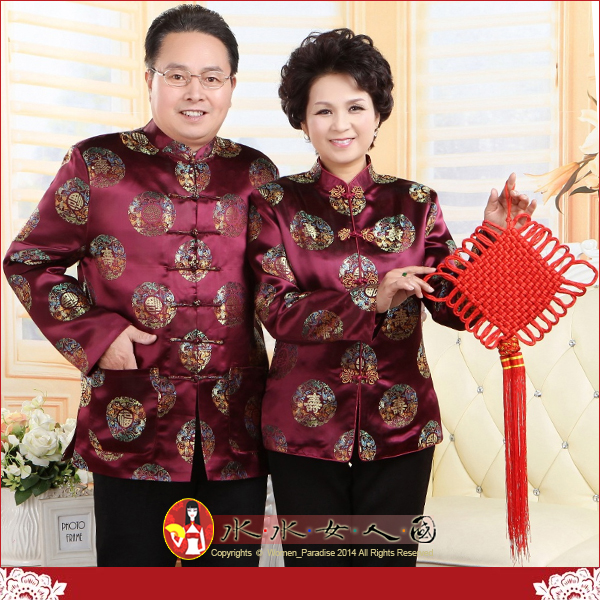 【水水女人國】~送給爸媽過年新衣~喜慶福壽(紫紅色)。中國風高檔織錦緞長袖唐裝外套