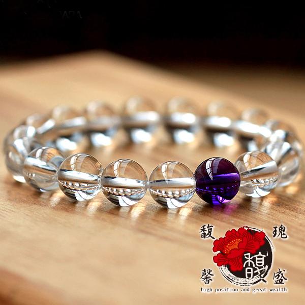 佛珠【白水晶8MM手鍊】天然 圓珠 手環 手鏈  水晶 紫水晶 改善 淨化 含開光 馥瑰馨盛NS0325