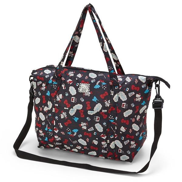 【真愛日本】16061600017可收納旅行袋M-KT紅結熱氣球黑  三麗鷗 Hello Kitty 凱蒂貓    旅行袋 收納袋