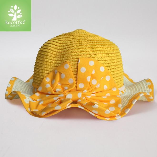 Kocotree◆可愛蝴蝶結繽紛糖果色浪漫波浪帽沿兒童防曬遮陽漁夫帽草帽-黃色