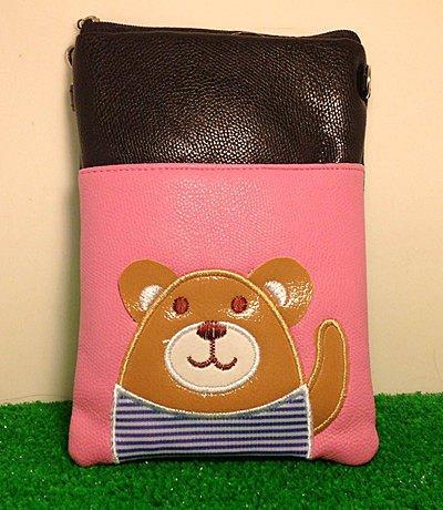 =優生活=可愛熊熊拼色手機套 手機包 小側包 零錢包