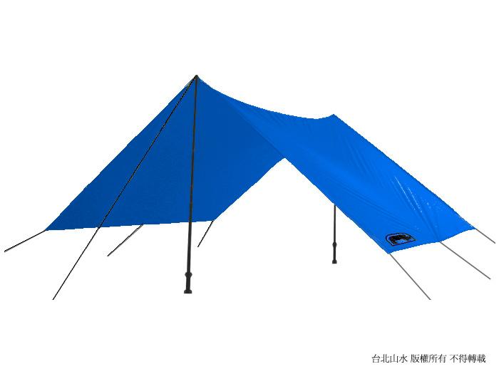 [ RHINO ] 炊事帳/露營帳篷/露營用品 F06 六人輕量雨蓋/外帳天幕/地布 附營釘營繩 藍色