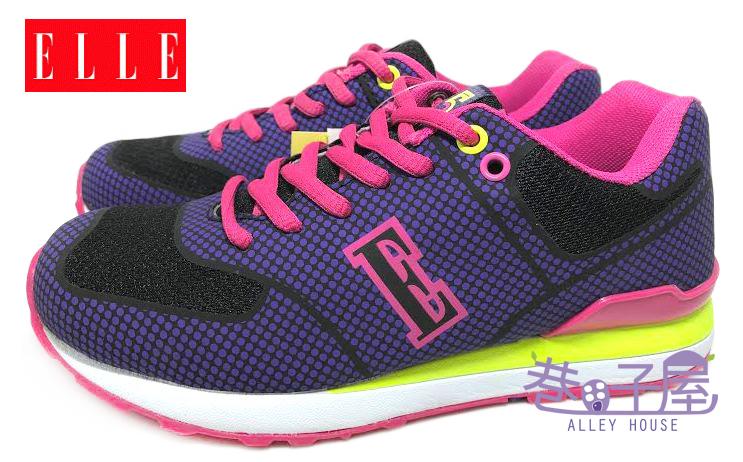【巷子屋】ELLE 女款記憶鞋墊康特杯復古運動慢跑鞋 [52216] 藍紫 超值價$498