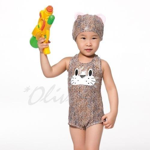 ☆小薇的店☆蘋果牌新款【可愛豹圖騰款式】時尚兒童造型連身泳裝特價620元NO.105201(4-8)