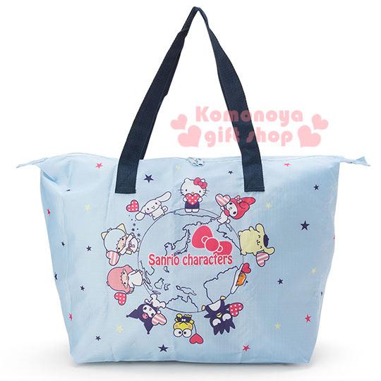 〔小禮堂〕Sanrio大集合 可折疊側背旅行袋《藍.世界系列》可掛於行李箱桿上