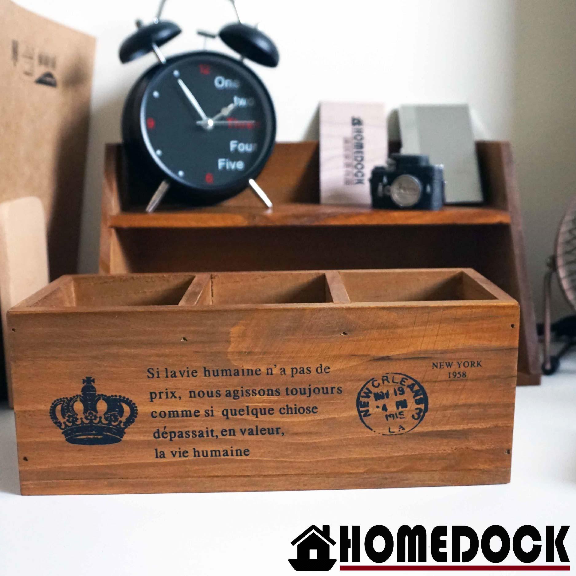 HOMEDOCK-原木質感三格收納筒 筆筒/文具收納/遙控器/Zakka/筒/桶/雜貨/書桌/客廳/木盒/收納