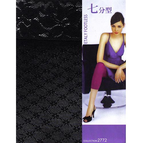 [漫朵拉情趣用品]【Etaly】七分褲美體襪(黑色蕾絲緹花-小花菱格) DM-91742