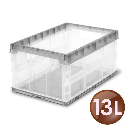 WallyFun【13公升】果凍折疊收納箱 -鐵灰銀