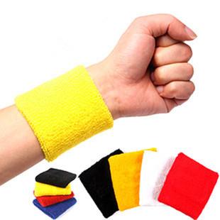 8釐米全棉素面針織提花竹炭透氣毛巾運動護腕(ㄧ組5雙隨機出貨)