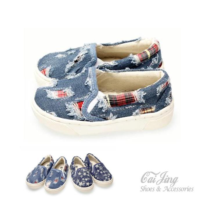 兒童休閒鞋_街頭時尚懶人童鞋   親子鞋 格深藍_ 采靚精品鞋飾