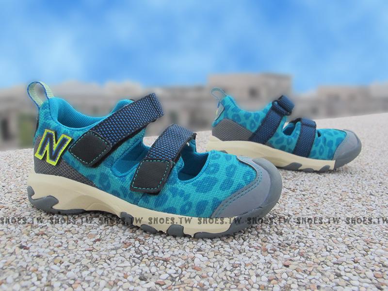 Shoestw【KD555BGI】NEW BALANCE 涼鞋 拖鞋 童鞋 小童鞋 藍豹紋 護指涼鞋 免綁帶