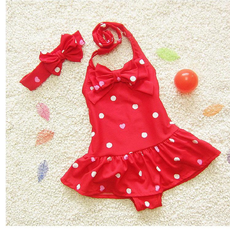 兒童嬰兒波點可愛連體裙式游泳衣寶寶女童泳裝+髮帶-紅色