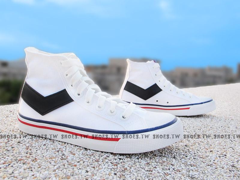 Shoestw【63U1SH20SW】PONY Shooter 帆布鞋 高筒 白黑色 男女都有
