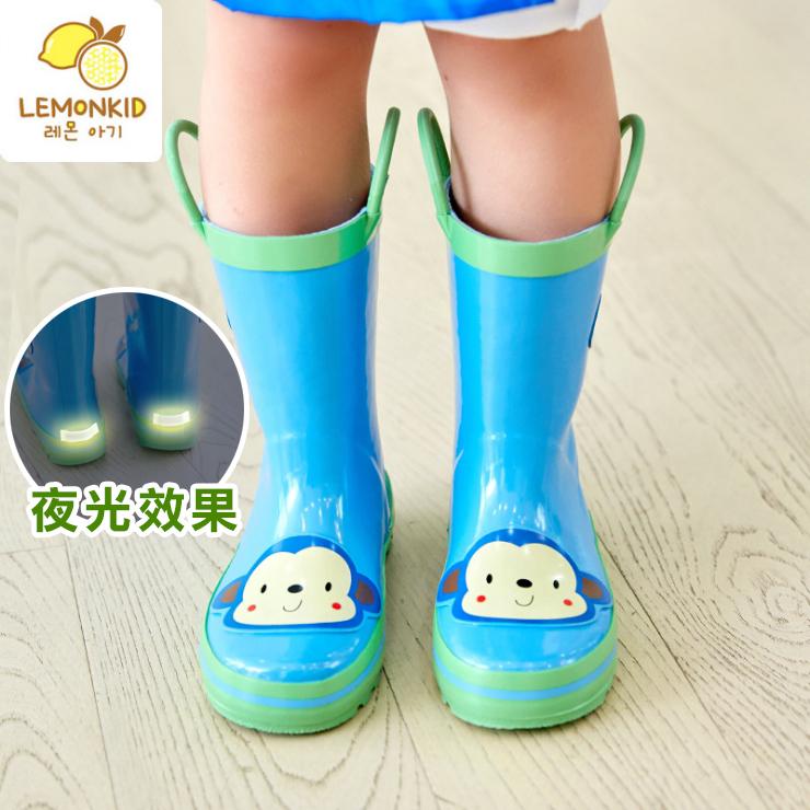 Lemonkid◆活力小花猴安全夜光設計手提式提環橡膠兒童雨鞋-藍色