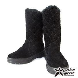 【NG品/福利品】PolarStar 女 菱格保暖雪鞋 │雪靴 黑 P14628