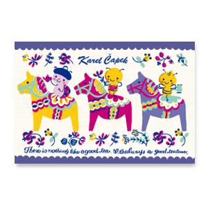 達拉馬與Buzzy(藍)【卡雷爾恰佩克Karel Capek 】-山田詩子/手繪明信片