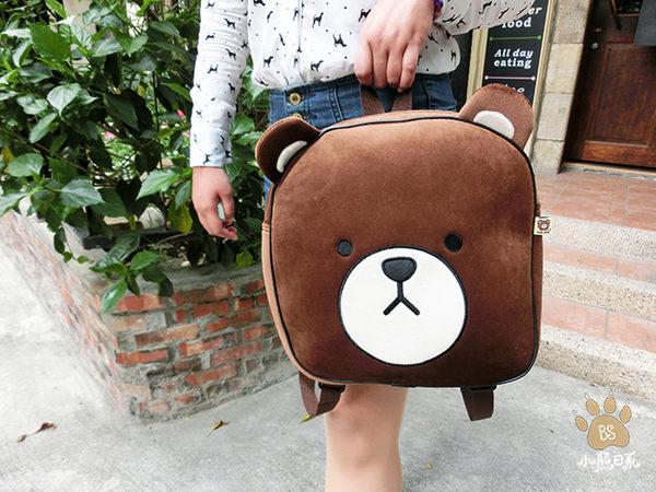 小熊日系*Tom Bear棕熊大頭方型後背包