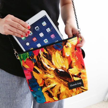 泰國 CC曼谷包 油畫款斜肩包 Cheetah Ciety 鍊條側背 迷你手拿包 手機包 萬用包【N100108】