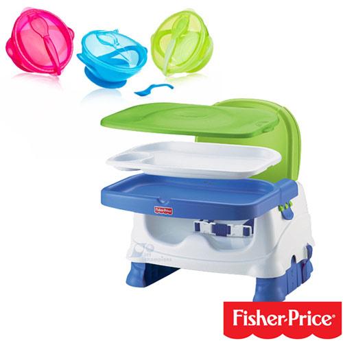 【奇買親子購物網】費雪牌 Fisher-Price寶寶小餐椅+Nuby 學習吸盤碗(附湯匙)