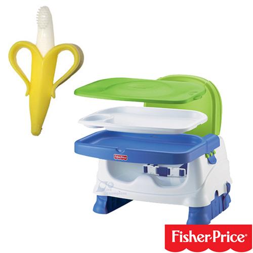【奇買親子購物網】費雪牌 Fisher-Price寶寶小餐椅+幼兒學習軟性香蕉牙刷0-1Y(可當固齒器使用)