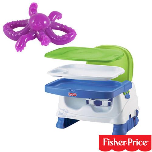 【奇買親子購物網】費雪牌 Fisher-Price寶寶小餐椅+幼兒學習軟性章魚牙刷(可當固齒器使用)
