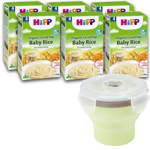 【奇買親子購物網】HiPP喜寶有機寶寶米精/6入+法國BabyMoov 嬰兒矽膠折疊碗/240ML