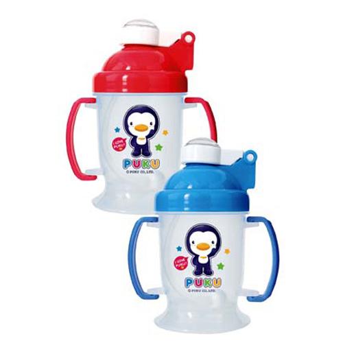 【奇買親子購物網】藍色企鵝 PUKU Petit 彈跳練習杯(摺疊握把)