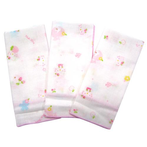【奇買親子購物網】Hello Kitty 滿版紗布手帕/3入