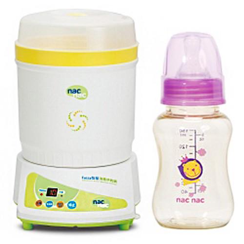 【奇買親子購物網】Nac Nac Fuzzy制菌負離子烘乾消毒鍋+PES標準葫蘆奶瓶/150ml