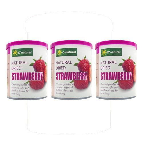 【奇買親子購物網】O''natural 歐納丘純天然整顆草莓乾 (150g*3罐)