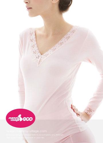 【奇買親子購物網】六甲村孕哺衛生衣-V領長袖(粉色/白色)