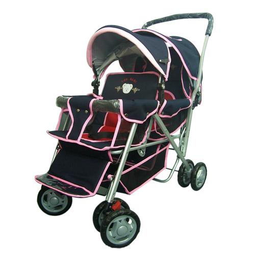 【奇買親子購物網】IAN BABY 899F2抗UV加大鋁合金雙人座嬰兒車(深藍粉/深藍紅/果綠)/台灣製