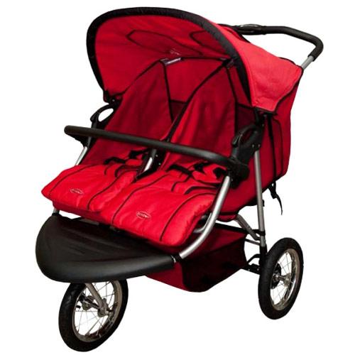 【奇買親子購物網】SYNCON欣康-雙胞胎並排三輪手推車(紅色)
