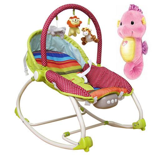 【奇買親子購物網】Mother's Love 嬰兒震動搖椅+可愛費雪Fisher聲光安撫小海馬