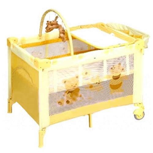 【奇買親子購物網】ACE 幸福熊雙層遊戲床(黃/綠)