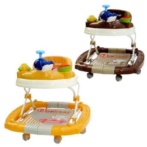 【奇買親子購物網】湯尼熊 Tony Bear 嬰兒搖擺式學步車-(黃色/咖啡色)