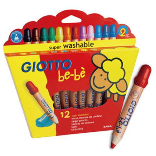 【奇買親子購物網】GIOTTO BEBE 可洗式寶寶木質蠟筆(12色)