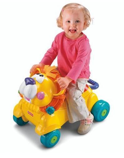 【奇買親子購物網】FisherPrice費雪-兩用獅子聲光踏步車