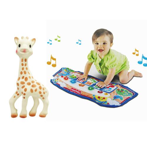 【奇買親子購物網】Vulli 法國蘇菲長頸鹿固齒器+費雪新踢踢腳鋼琴